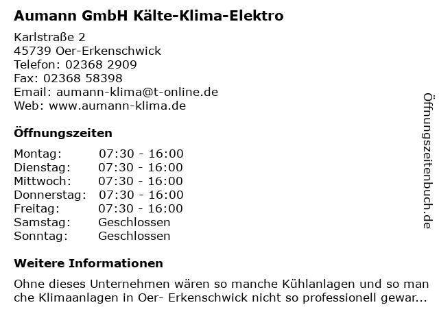 Aumann GmbH Kälte-Klima-Elektro in Oer-Erkenschwick: Adresse und Öffnungszeiten