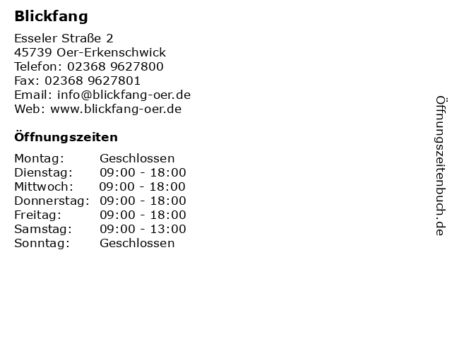 Blickfang in Oer-Erkenschwick: Adresse und Öffnungszeiten