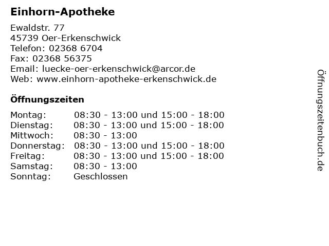 Einhorn-Apotheke in Oer-Erkenschwick: Adresse und Öffnungszeiten