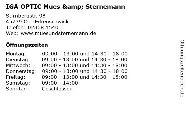 IGA OPTIC Mues & Sternemann in Oer-Erkenschwick: Adresse und Öffnungszeiten