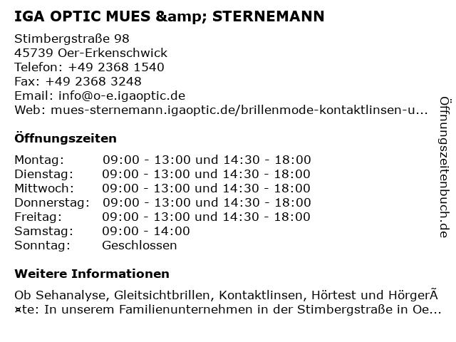 Iga Optic in Oer-Erkenschwick: Adresse und Öffnungszeiten
