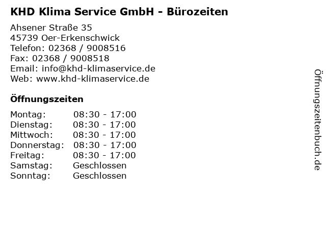 KHD Klima Service GmbH - Bürozeiten in Oer-Erkenschwick: Adresse und Öffnungszeiten