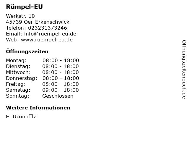 Rümpel-EU in Oer-Erkenschwick: Adresse und Öffnungszeiten