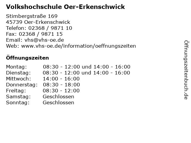 Volkshochschule Oer-Erkenschwick in Oer-Erkenschwick: Adresse und Öffnungszeiten