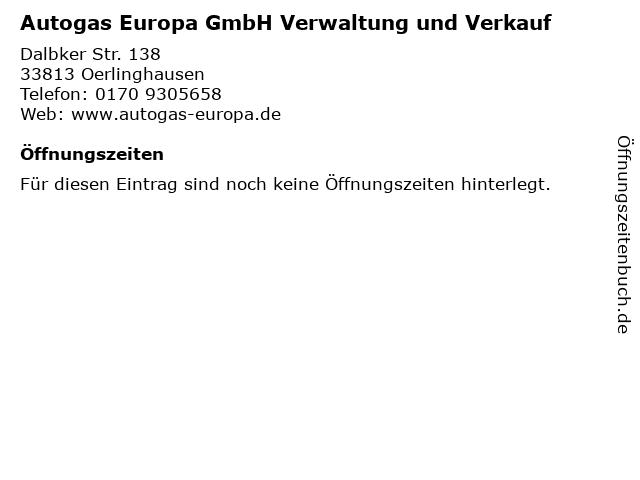 Autogas Europa GmbH Verwaltung und Verkauf in Oerlinghausen: Adresse und Öffnungszeiten