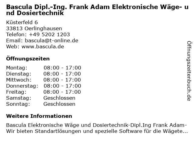 Bascula Dipl.-Ing. Frank Adam Elektronische Wäge- und Dosiertechnik in Oerlinghausen: Adresse und Öffnungszeiten