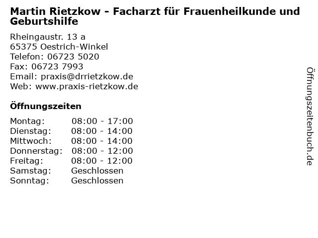 Martin Rietzkow Facharzt für Frauenheilkunde und Geburtshilfe in Oestrich-Winkel: Adresse und Öffnungszeiten