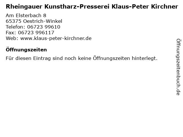 Rheingauer Kunstharz-Presserei Klaus-Peter Kirchner in Oestrich-Winkel: Adresse und Öffnungszeiten