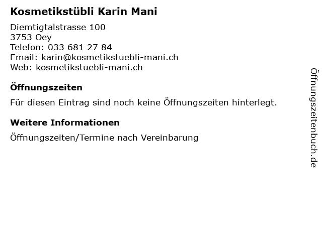 Kosmetikstübli Karin Mani in Oey: Adresse und Öffnungszeiten