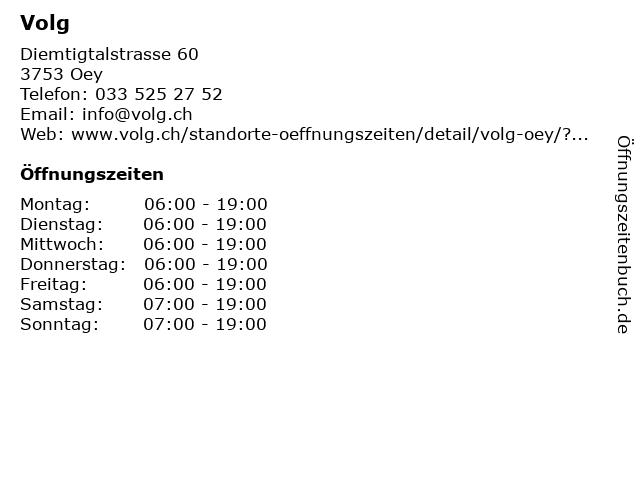 Volg in Oey: Adresse und Öffnungszeiten