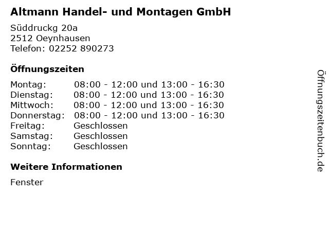 Altmann Handel- und Montagen GmbH in Oeynhausen: Adresse und Öffnungszeiten