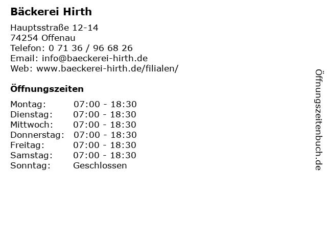 Bäckerei Hirth in Offenau: Adresse und Öffnungszeiten