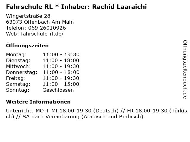 Fahrschule RL * Inhaber: Rachid Laaraichi in Offenbach Am Main: Adresse und Öffnungszeiten