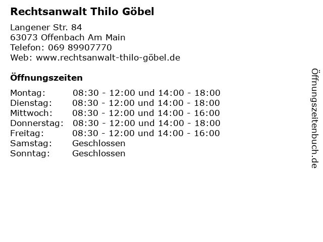 Rechtsanwalt Thilo Göbel in Offenbach Am Main: Adresse und Öffnungszeiten