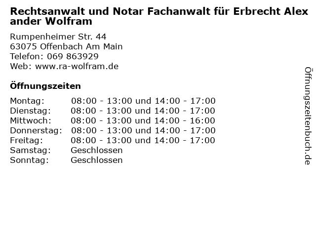 Rechtsanwalt und Notar Fachanwalt für Erbrecht Alexander Wolfram in Offenbach Am Main: Adresse und Öffnungszeiten