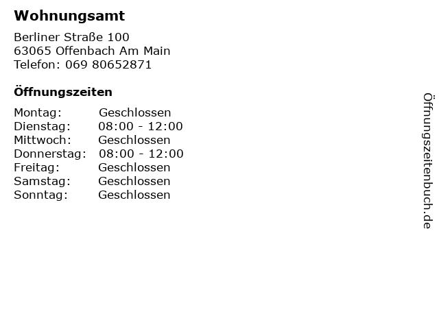 Wohnungsamt in Offenbach Am Main: Adresse und Öffnungszeiten