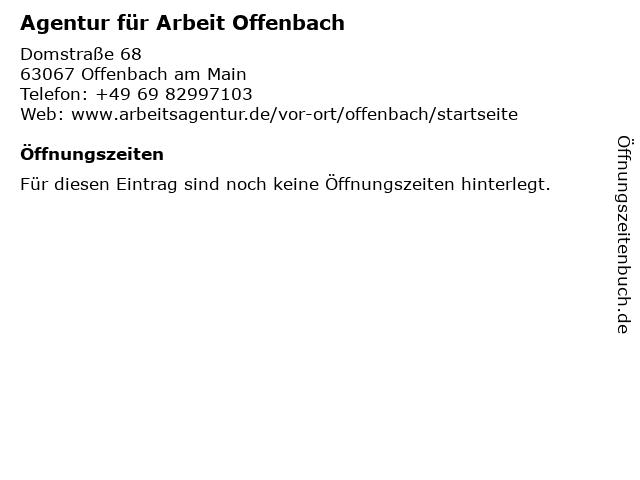 Agentur für Arbeit Offenbach in Offenbach am Main: Adresse und Öffnungszeiten