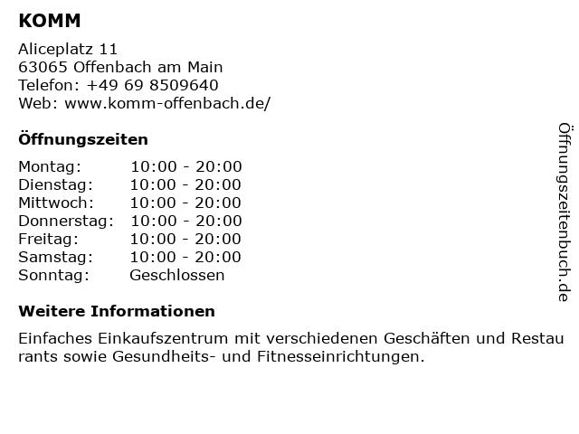Apotheke im KOMM in Offenbach am Main: Adresse und Öffnungszeiten