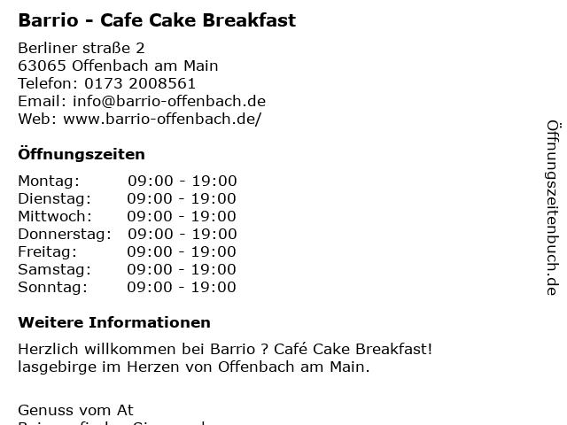 Barrio - Cafe Cake Breakfast in Offenbach am Main: Adresse und Öffnungszeiten