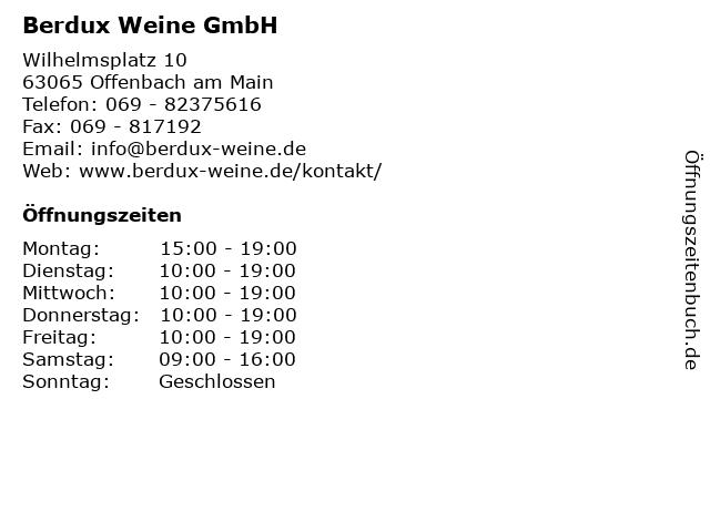 Berdux Weine GmbH in Offenbach am Main: Adresse und Öffnungszeiten