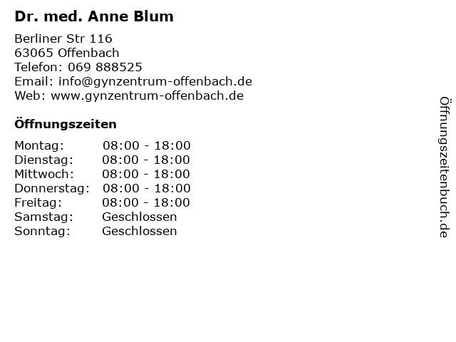 Dr. med. Anne Blum + Dr. med. Heike Beck, in Offenbach am Main: Adresse und Öffnungszeiten