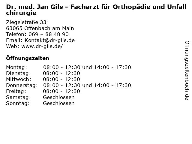 Dr. med. Jan Gils - Facharzt für Orthopädie und Unfallchirurgie in Offenbach am Main: Adresse und Öffnungszeiten
