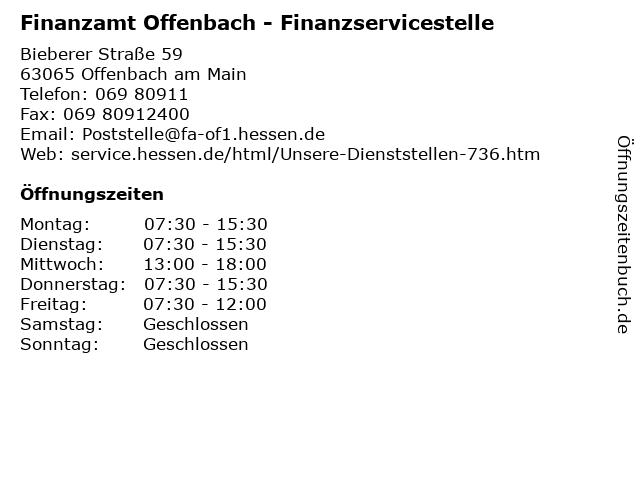 Finanzamt Offenbach - Finanzservicestelle in Offenbach am Main: Adresse und Öffnungszeiten