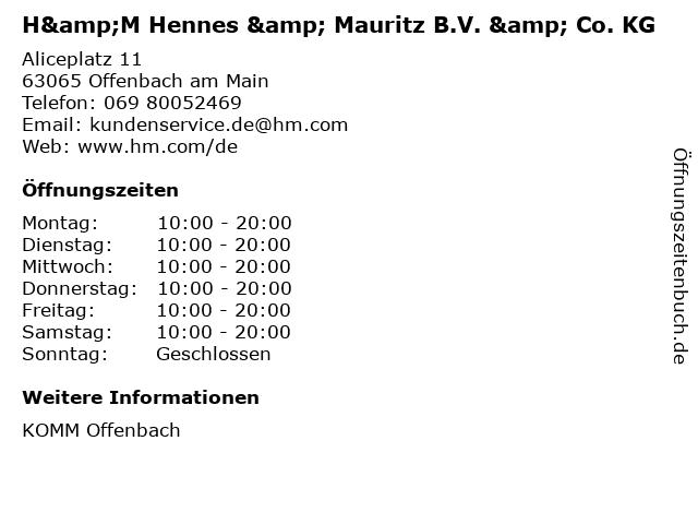 H&M Hennes & Mauritz B.V. & Co. KG in Offenbach am Main: Adresse und Öffnungszeiten