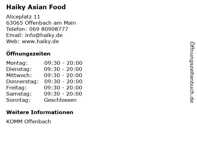 Haiky Asian Food in Offenbach am Main: Adresse und Öffnungszeiten