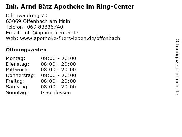 Inh. Arnd Bätz Apotheke im Ring-Center in Offenbach am Main: Adresse und Öffnungszeiten