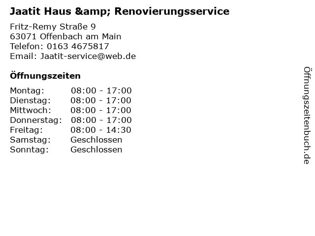Jaatit Haus & Renovierungsservice in Offenbach am Main: Adresse und Öffnungszeiten