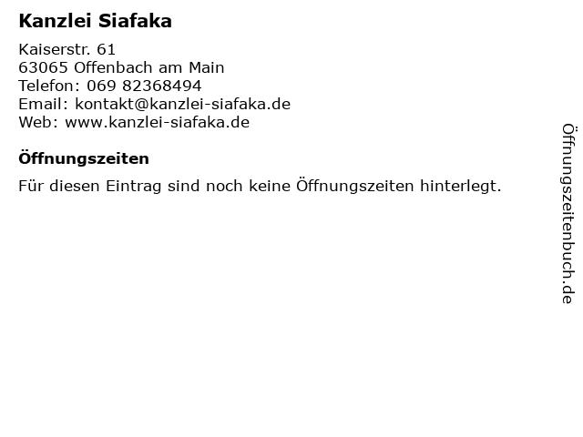 Kanzlei Siafaka in Offenbach am Main: Adresse und Öffnungszeiten