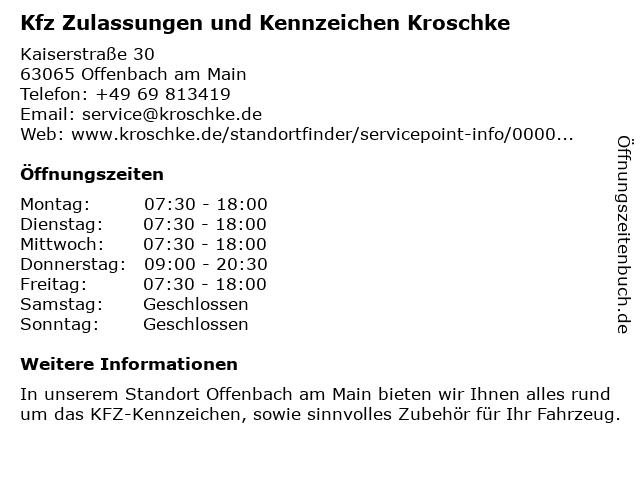 Kfz Zulassungen und Kennzeichen Kroschke in Offenbach am Main: Adresse und Öffnungszeiten