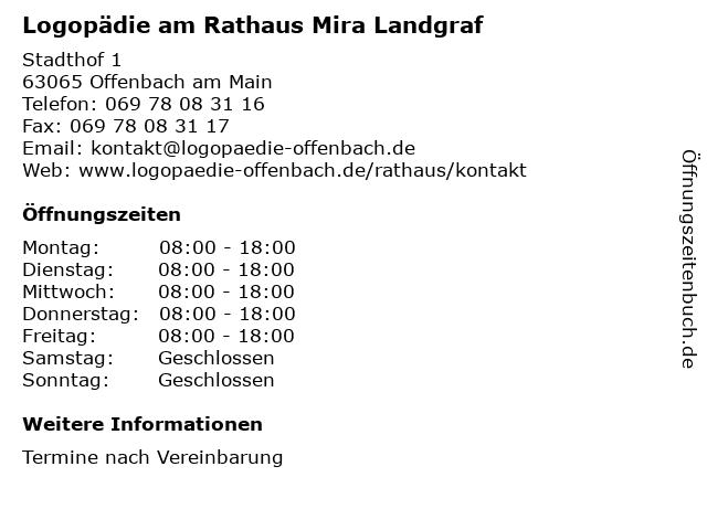 Logopädie am Rathaus Mira Landgraf in Offenbach am Main: Adresse und Öffnungszeiten