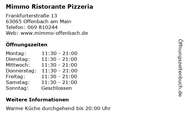 Mimmo Ristorante Pizzeria in Offenbach am Main: Adresse und Öffnungszeiten