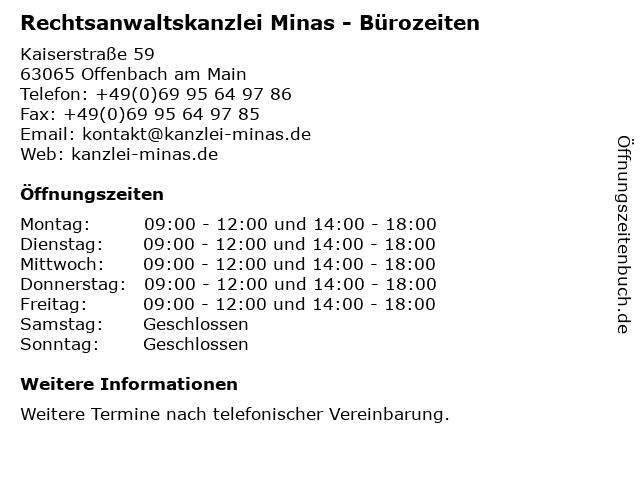 Rechtsanwaltskanzlei Minas - Bürozeiten in Offenbach am Main: Adresse und Öffnungszeiten