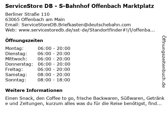 ServiceStore DB - Bahnhof Offenbach Marktplatz in Offenbach: Adresse und Öffnungszeiten