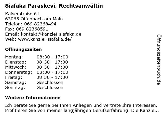 Siafaka Paraskevi, Rechtsanwältin in Offenbach am Main: Adresse und Öffnungszeiten