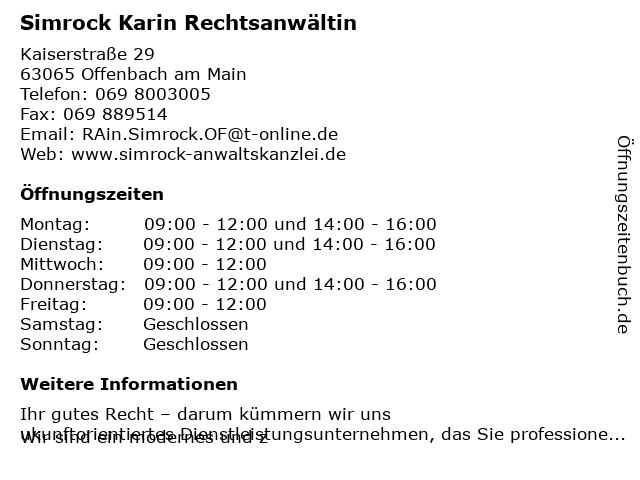 Simrock Rechtsanwälte - Simrock Karin in Offenbach am Main: Adresse und Öffnungszeiten