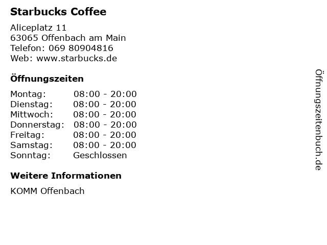 Starbucks Coffee in Offenbach am Main: Adresse und Öffnungszeiten