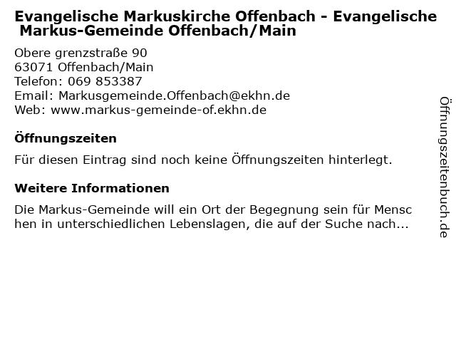 Evangelische Markuskirche Offenbach - Evangelische Markus-Gemeinde Offenbach/Main in Offenbach/Main: Adresse und Öffnungszeiten