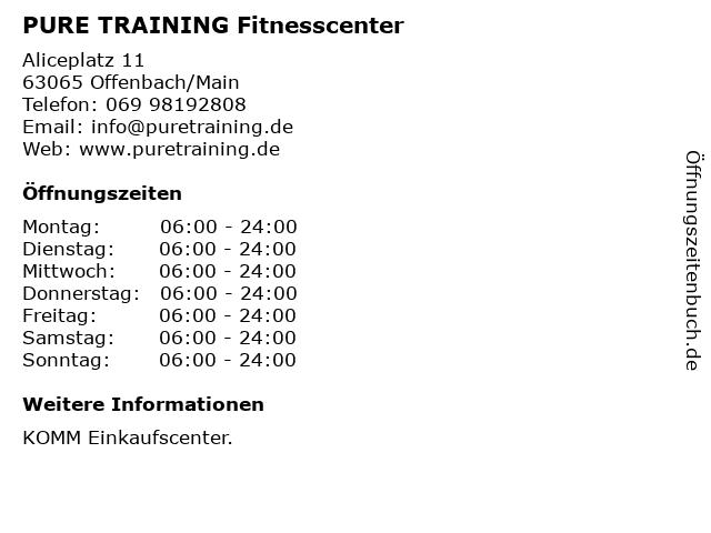 PURE TRAINING Fitnesscenter in Offenbach/Main: Adresse und Öffnungszeiten