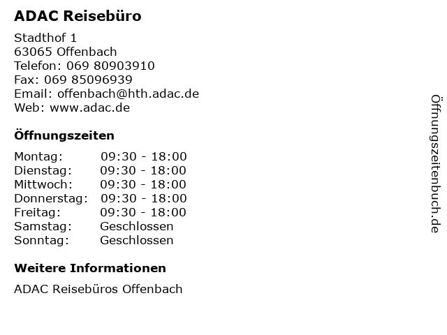 ADAC Reisebüro in Offenbach: Adresse und Öffnungszeiten
