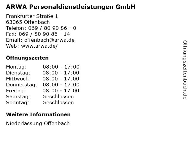 ARWA Personaldienstleistungen GmbH in Offenbach: Adresse und Öffnungszeiten