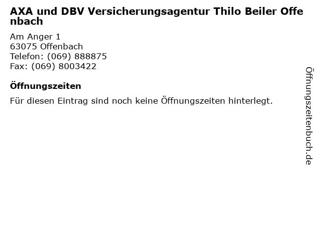 AXA und DBV Versicherungsagentur Thilo Beiler Offenbach in Offenbach: Adresse und Öffnungszeiten