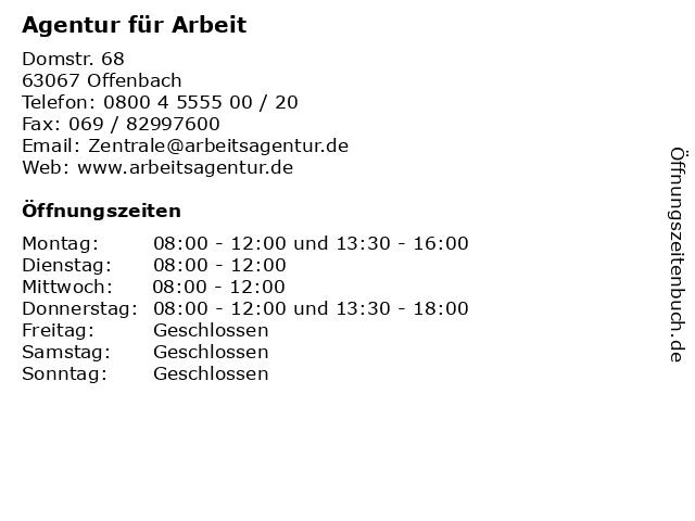Agentur für Arbeit in Offenbach: Adresse und Öffnungszeiten