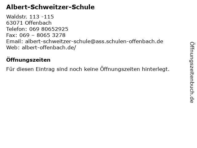 Albert-Schweitzer-Schule in Offenbach: Adresse und Öffnungszeiten