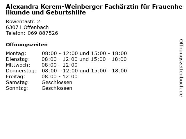 Alexandra Kerem-Weinberger Fachärztin für Frauenheilkunde und Geburtshilfe in Offenbach: Adresse und Öffnungszeiten