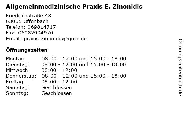 Allgemeinmedizinische Praxis E. Zinonidis in Offenbach: Adresse und Öffnungszeiten