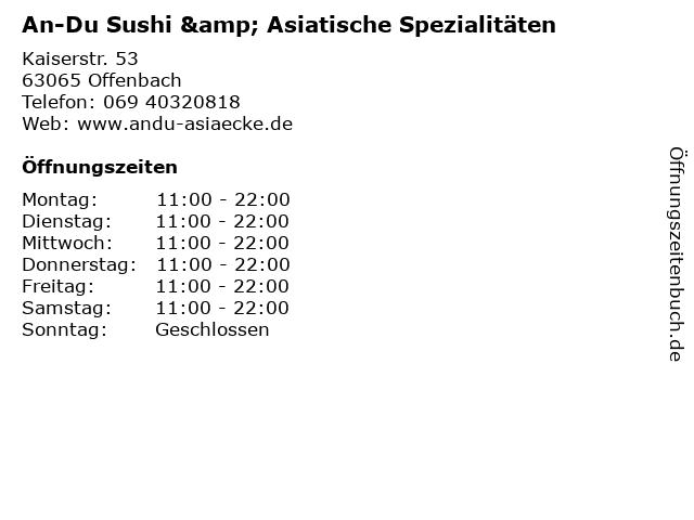 An-Du Sushi & Asiatische Spezialitäten in Offenbach: Adresse und Öffnungszeiten